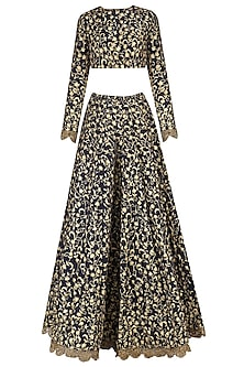 Navy Embroidered Lehenga Set by Nikhil Thampi