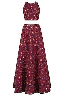 Deep Pink Floral Embroidered Lehenga Set