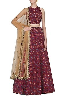 Deep Pink Floral Embroidered Lehenga Set by Nikhil Thampi