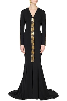 Black Chip Embroidery Fish Tail Gown by Nikhil Thampi