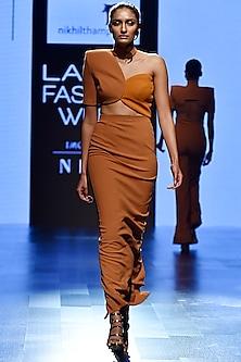 Brown Circular Top With Skirt by Nikhil Thampi