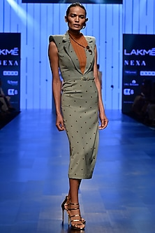 Grey Sage Sheath Dress by Nikhil Thampi