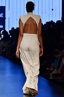 White Back Cut Out Jacket With Pants by Nikhil Thampi