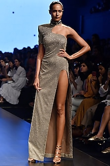 Silver One Shoulder Draped Shimmery Gown by Nikhil Thampi