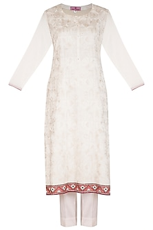 White Embroidered Kurta Set by Nysa & Shubhangi