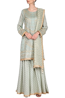 Turquoise Embroidered Sharara Set by Nysa & Shubhangi