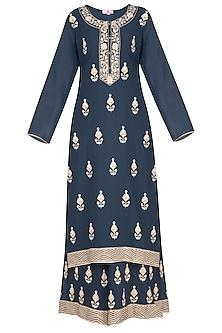 Charcoal Blue Embellished Sharara Set by Nysa & Shubhangi