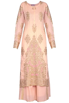 Peach Embroidered Sharara Set by Nysa & Shubhangi
