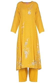 Mustard Embroidered Kurta Set by Nysa & Shubhangi