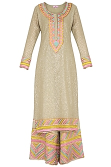 Mint Green Embroidered Sharara Set by Nysa & Shubhangi