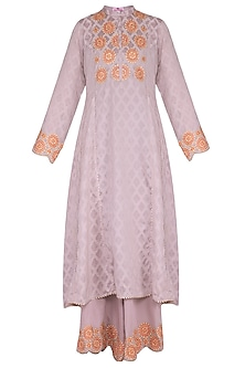 Lilac Embroidered Sharara Set by Nysa & Shubhangi
