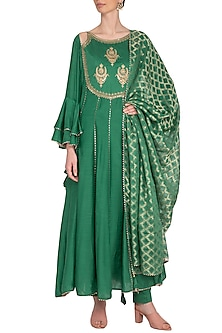 Green Embroidered Anarkali Set by Nysa & Shubhangi