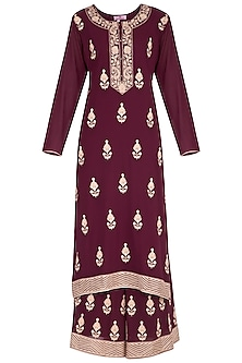 Wine Embroidered Sharara Set by Nysa & Shubhangi