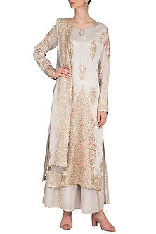Grey Embroidered Kurta Set by Nysa & Shubhangi