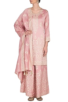 Onion Pink Ghicha Sharara Set by Nysa & Shubhangi