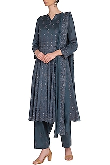Charcoal Grey Embroidered A-Line Kurta Set by Nysa & Shubhangi