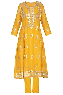 Mustard Embroidered A-Line Kurta Set by Nysa & Shubhangi