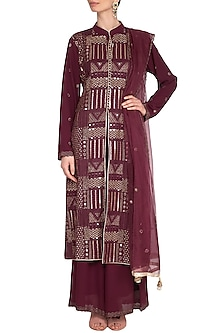 Wine Embroidered Achkan Sharara Set by Nysa & Shubhangi