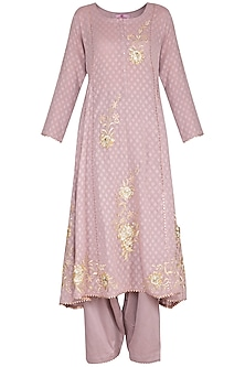 Lilac Embroidered Kurta Set by Nysa & Shubhangi