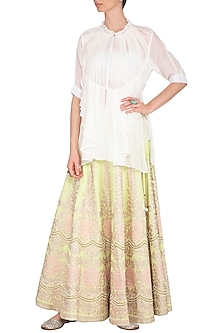 Mint Green Embroidered Flared Lehenga Skirt by Nysa & Shubhangi