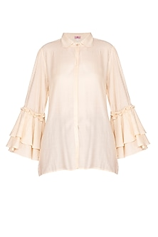 Beige Bell Sleeves Shirt by Nysa & Shubhangi