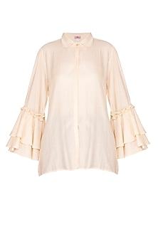 Beige Bell Sleeves Shirt by Nysa & Shubhangi