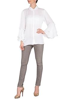 White Bell Sleeves Shirt by Nysa & Shubhangi
