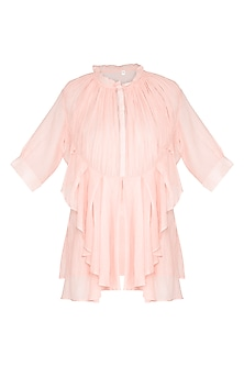 Peach Frill Shirt by Nysa & Shubhangi