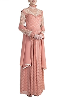Dusty Dawn Rose Embroidered Indo-Russian Dress With Dupatta by Ohaila Khan
