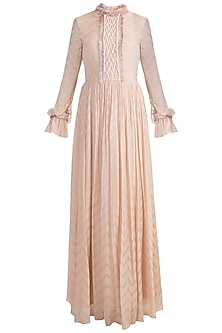 Nude Embroidered Indo-Russian Gown With Dupatta by Ohaila Khan