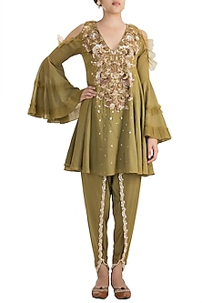 Mehendi Green Peplum Kurta With Dhoti Pants by Ohaila Khan