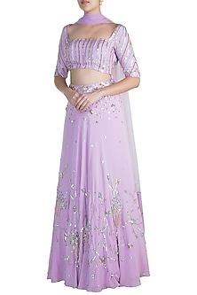 Lilac Chevron Lehenga Set by Ohaila Khan