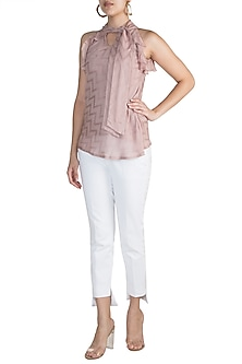 Taupe Ruffled Pussy Bow Blouse by Ohaila Khan