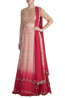 Red Chevron Lehenga Set by Ohaila Khan