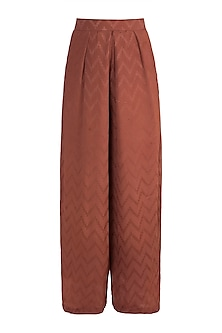 Rust Chevron Flared Pants by Ohaila Khan
