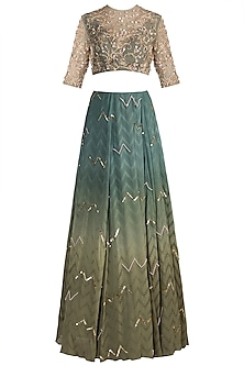 Moss Green Chevron Lehenga Set by Ohaila Khan
