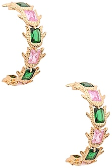 Rose Gold Plated Pink and Emerald Crystal Hoop Earrings by Outhouse