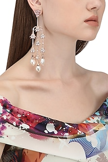 Rose Gold Plated Crystal Tassel Earrings by Outhouse
