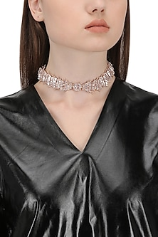 Rose Gold Plated Crystal Choker Necklace