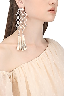 Rose Gold Plated Zircon and Pearl Tassel Earrings