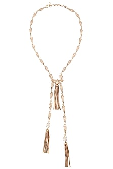 Rose Gold Plated Crystal Zircon Tassel Pendant Necklace by Outhouse