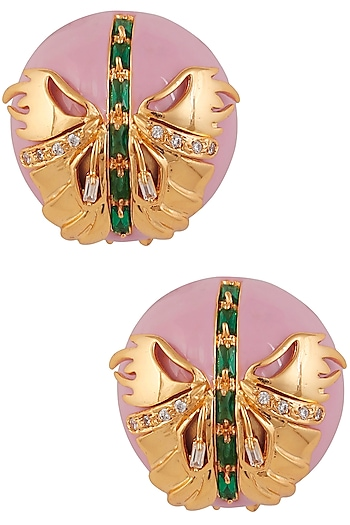 Gold Plated Papilio Blush Pink Stud Earrings by Outhouse