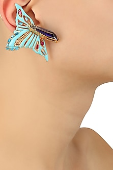 Gold Plated Papilio Turquoise Earcuff Studs by Outhouse