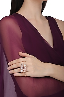 Rose Gold Plated Pearl and Crystal Baguette Ring