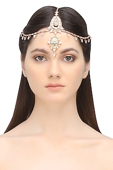 Rose gold plated jewel me headgear by Outhouse