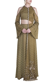 Khaki Olive Embroidered Cut Out Anarkali Gown by Ohaila Khan