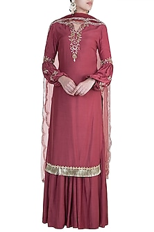 Rosewood Embroidered Sharara Set by Ohaila Khan