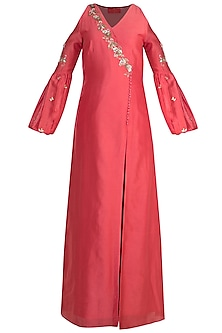 Tomato Red Angrakha Kurta Set by Ohaila Khan