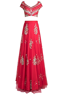Red Butta Embroidered Lehenga Set by Ohaila Khan