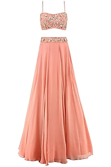 Coral Embroidered Lehenga, Crop Top and Cape Set